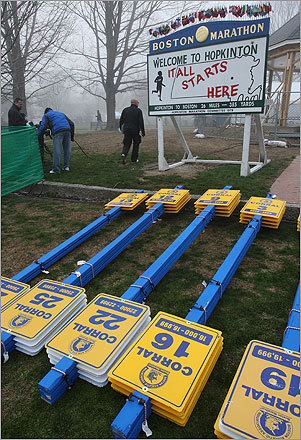 Volunteers were working early at the Hopkinton Town Common to prepare before the beginning of the race.