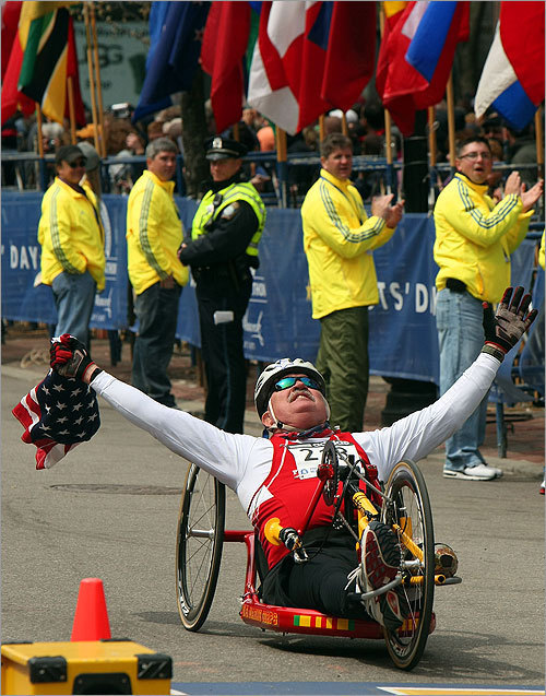A special pedal powered wheelchair crossed the finish line.