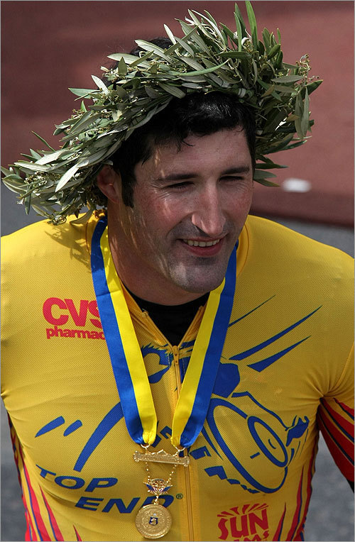 Ernst Van Dyk after the victor's wreath was placed on his head, signifying his victory in the wheelchair race.