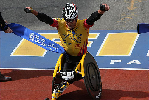 Van Dyk won the men's wheelchair race for the eighth time in nine years.