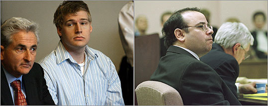 Left, alleged 'Craigslist killer' Philip Markoff during his arraignment. Right, Daniel Mason, convicted killer of Michael Lenz, during his 2001 trial in Suffolk Superior Court.