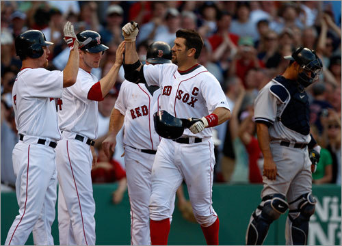 Varitek received some much-deserved congratulations from teammates after his fourth-inning grand slam.
