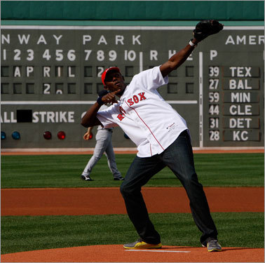 World's fastest man Usain Bolt from Jamaica threw out the first pitch before Saturday's game.