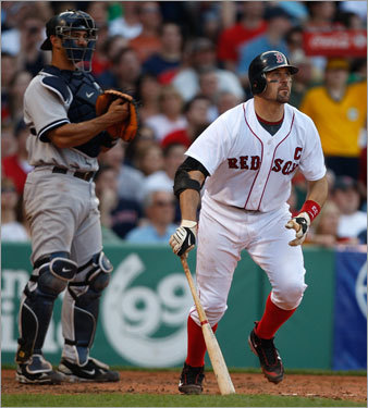 After the Yankees took a 6-0 lead, Jason Varitek brought the Red Sox to within 6-5 with a fourth-inning grand slam.