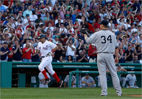 Varitek rounded third and headed for home as the Fenway faithful erupted.