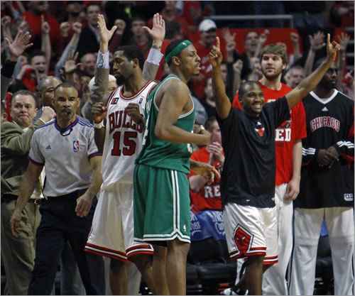 The Bulls bench celebrated when they realized Pierce's shot would be no good.