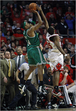 With his team down three, Paul Pierce has his last-second shot blocked by John Salmons at the buzzer, preserving the win for Chicago.