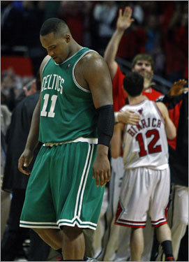 Glen Davis logged 46 minutes for the Celtics and walked off the floor with his head down.