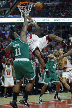 Ben Gordon was sent sailing on a foul by the Celtics Glen Davis (11) with 9.8 seconds left in the first overtime.