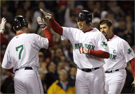 Just a few hours later, the Sox did it again, scoring all seven runs in the first four innings; Jeff Bailey (center) hit a three-run homer into the Monster seats in his first at-bat of the season. Brad Penny turned in a solid six innings, giving up only two earned runs and six hits to the Twins.