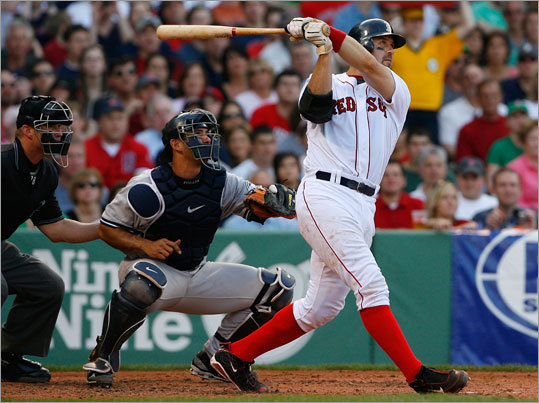 It was a wild one at Fenway on Saturday. The Yankees and Red Sox combined for 28 hits and 27 runs in a back-and-forth game that lasted four hours and 21 minutes. Mike Lowell drove in six runs, but the game MVP might have been Jason Varitek, whose fourth-inning grand slam put the Sox within one run of the Yankees after they trailed 6-0. The Sox would score 11 more runs in the next four innings.