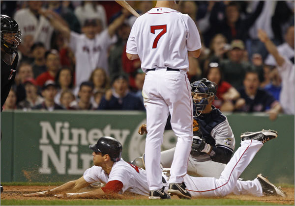 Jacoby Ellsbury is safe at the plate after sliding under the tag of Yankees catcher Jorge Posada for a straight steal of home.