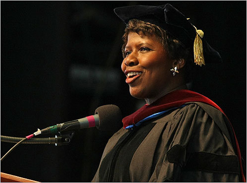 Alumna Gwen Ifill delivered the keynote speech at Simmons College's graduation May 15.