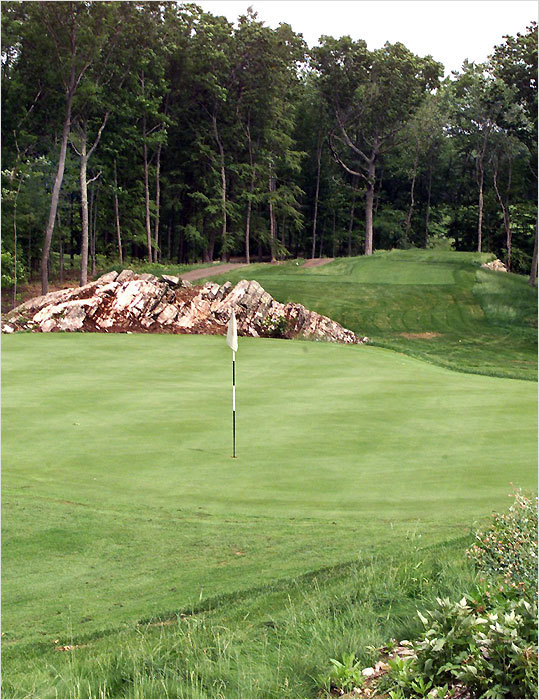 This Brian Silva design sits on converted farmland, and it will celebrate its 10th anniversary next July. The Sewall family of Greenland, N.H., has owned the property for more than 200 years, and they deployed 170 acres for this par-71 course that measures 6,492 yards from the back tees. ''There are only two water hazards out here, but Brian Silva did a lot with the exposed rock and granite,'' said Nate Bridges, the golf pro. ''We've hosted State Amateur qualifying and State Mid-Amateur qualifying. But we can accommodate every type of golfer.'' The club also is hosting a unique promotion in May. The course is near Pease Air Terminal, where many US troops return from overseas deployment, and the Pease Greeters is a volunteer group that welcomes returning troops and gives departing ones a warm sendoff. On three Tuesdays in May (the 5th, 12th, and 26th), golfers who donate $10 in care packages for the troops can play golf for $20.