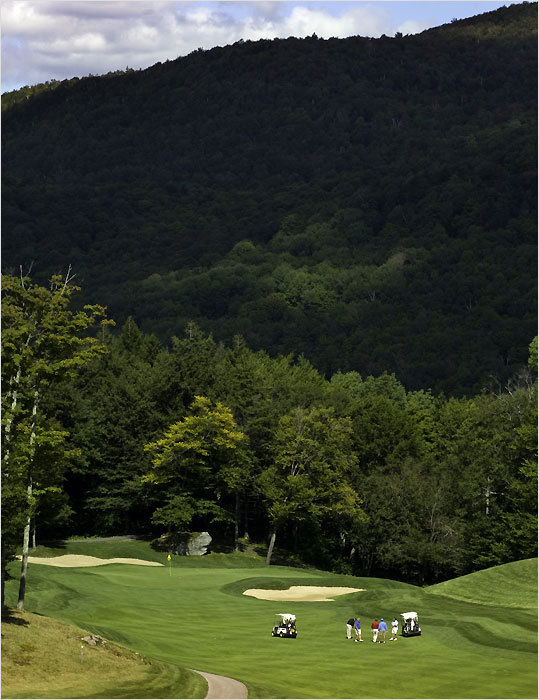 This course in Killington, Vt., is aptly named, as some of the holes are carved out of the mountains. The facility, designed by Gene Bates, opened in 1996, and it was ranked the top public course in Vermont by Golf Digest in its May issue. It will host the New England Amateur in 2012 and the New England Women's Amateur in 2013. ''It's a challenging course, but we have five sets of tees,'' said general manager David Soucy. ''We try to educate players on choosing the right set of tees so it's a good challenge for them.'' The course plays 6,589 yards from the back tees to a par of 71, but it can play as short as 4,740 yards. ''The thing I really like about the course is that there's no noise, no houses — just nature,'' Soucy said. ''There's only Route 100, one of the prettiest roads in Vermont, and when you get on the back nine, you don't see another foursome. You don't get that much these days.''