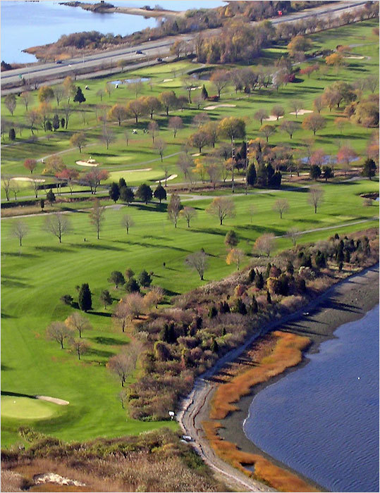This course is on the north end of Aquidneck Island in Portsmouth, R.I., on the way to Newport, and it is playable most of the year because it dries out quickly. ''This course doesn't beat you up,'' said Steve Diemoz, who was recently named golf pro of the year in the state. ''We've also cut down a lot of trees recently, so you get views of Mount Hope Bay from many of the holes.'' Montaup, which was founded in 1923, is no pushover, either — it has hosted the Rhode Island Open a couple of times and is the site of this year's Rhode Island stroke-play championship. Because of its open fairways and proximity to the water, the wind is a constant factor in shotmaking.