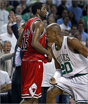 Ray Allen (right, as well as assistant coach Tom Thibodeau and a fan in the background at left) showed frustration after Allen was called for his sixth personal foul.