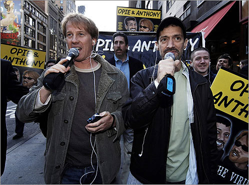 Opie and Anthony In August 2002, Gregg 'Opie' Hughes, left, and Anthony Cumia had their radio show canceled after a Virginia couple had sex in a vestibule at St. Patrick's Cathedral in New York as part of a sex-in-public-places contest sponsored by the show and by Boston Beer Co., the makers of Sam Adams. Hughes and Cumia had been fired in 1998 by Boston radio station WAAF after airing an April Fools ''prank'' saying that Mayor Thomas M. Menino had been killed in a car accident while vacationing solo in Florida. The two are now broadcasting on XM Satellite Radio and were back on Boston airwaves until late 2008 on WBCN.