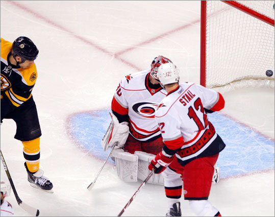Milan Lucic (left) watches the puck trickle into the net on David Krejci's first-period goal.