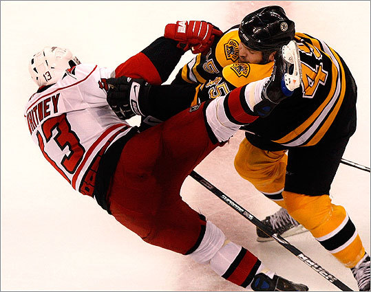 B's defenseman Mark Stuart flattened Carolina's Ray Whitney with an open ice hit in the 2nd period.