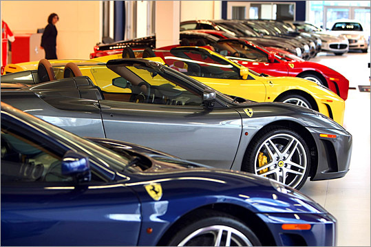The showroom of Ernie Boch Jr.'s Ferrari/Maserati of New England dealership on Route 1 in Norwood.
