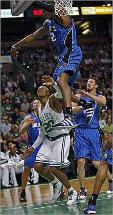 The Celtics got off to a slow start, trailing the Magic by 18 points at halftime. Pictured, Dwight Howard blocks a Ray Allen shot in the first half.