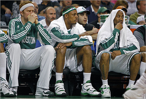 Brian Scalabrine, Paul Pierce, and Stephon Marbury watched with concern from the bench as Orlando started to run away with it in the second quarter. The Celtics, however, would have their say ...