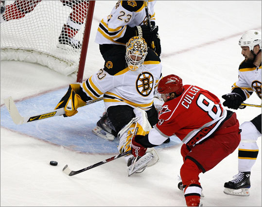 Bruins goalie Tim Thomas (30) robs Hurricanes center Matt Cullen (8) in the first period.