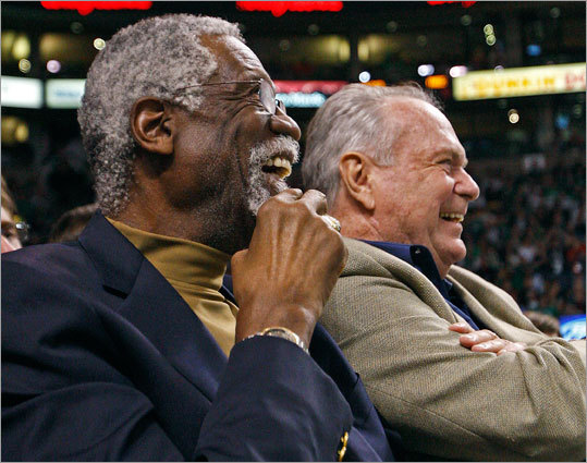 Celtics greats Bill Russell and Tommy Heinsohn were enjoying the game from their courtside seats.