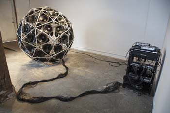 Sam van Aken's sculpture 'Thumper' is made from 80 subwoofer speakers contained within a 6-foot geosphere, and occasionally it makes a big noise.