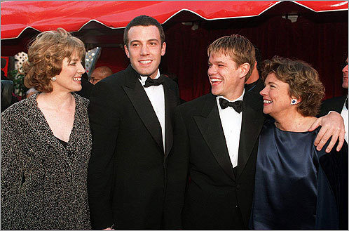 Ben Affleck and Matt Damon flew their mama's boy flags when they brought their mothers to the 1998 Academy Awards. That year Affleck and Damon won Best Original Screenplay for the movie, ''Good Will Hunting.''