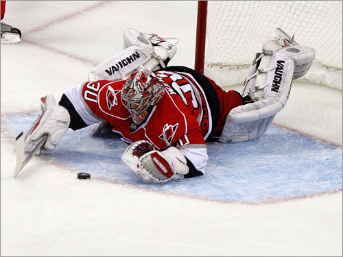 Hurricanesa goalie Cam Ward corralled a rebound in front of the net in the first period.