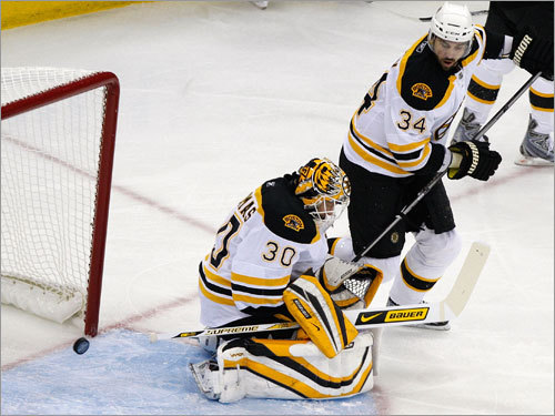 Bruins goalie Tim Thomas (left) let a shot from the Canes Eric Staal (not pictured) slip past him in the first period.