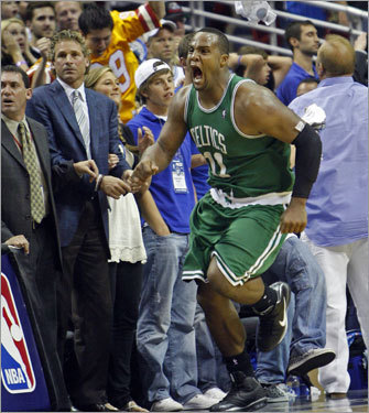 Celtics forward Glen Davis reacted after sinking the game winning jump shot at the buzzer to give Boston the 95-94 victory over the Magic and even the series at 2-2.