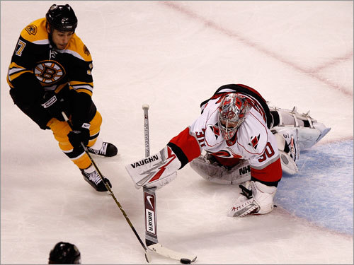 Canes goalie Cam Ward (right) poked the puck away from Bruins left wing Milan Lucic (left) in the first period.