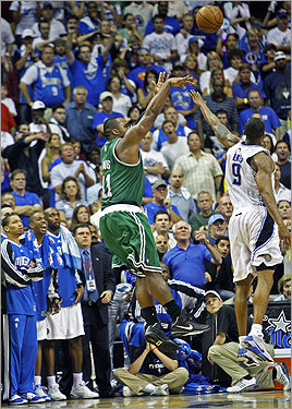 Celtics forward Glen 'Big Baby' Davis made the game-winning jumpshot over Magic forward Rashard Lewis (right) at the buzzer to win Game 4 and tie the series, 2-2.