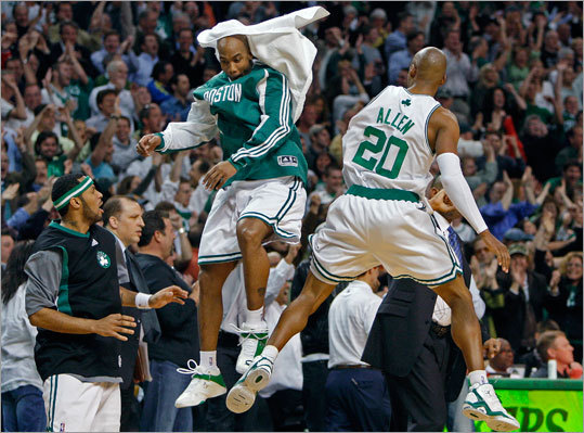 Ray Allen (right) celebrates wit teammate Stephon Marbury (left) after Allen's 3-pointer with less than a minute and a half left in the game put Boston ahead for good, 86-85.