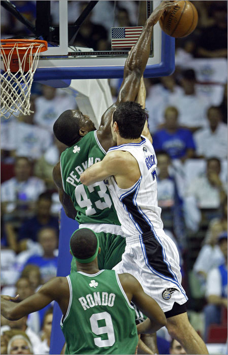 Kendrick Perkins blocked Orlando's J.J. Redick at the rim in the first quarter of Game 6.