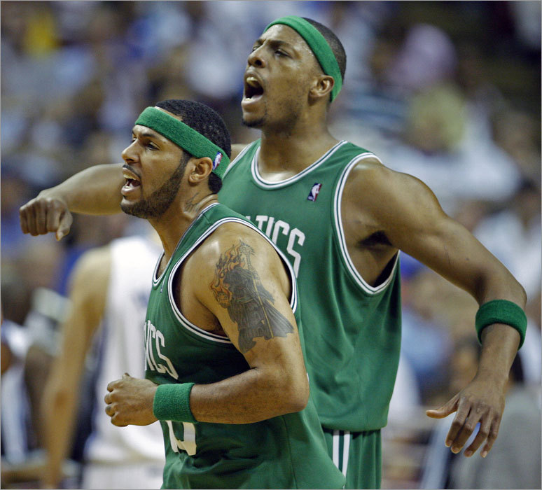 Eddie House and Paul Pierce exhulted as they headed for the bench after a Boston run in the second quarter forced Orlando to call a timeout.