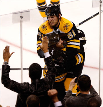Byron Bitz celebrated with Bruins defenseman Dennis Wideman after Bitz scored in the first period.