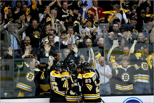 The Bruins and their fans celebrated a first-period goal by Byron Bitz.