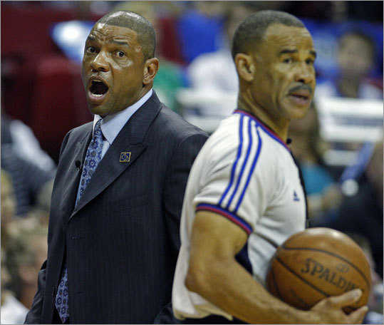 Celtics coach Doc Rivers (left) disagreed with a call in the first half.