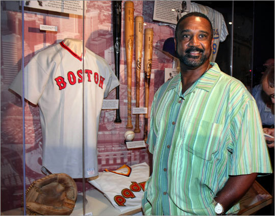 Former Red Sox slugger Jim Rice toured the Baseball Hall of Fame in Cooperstown, N.Y. in May to prepare for his induction this Sunday, July 26. Here, Rice stood in front of a display case that contains one of his bats and a game jersey worn by Carlton Fisk.