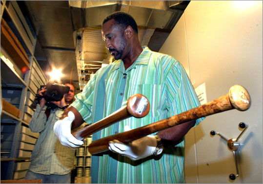 As part of his tour in May, Rice held Babe Ruth's and Ted Williams' bats in a humidity controlled vault in the basement of the museum.