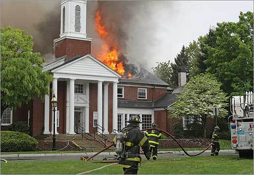 A three-alarm blaze all but destroyed the Church of Jesus Christ of Latter-Day Saints on Sunday morning on Longfellow Park near Mount Auburn Street in Cambridge.
