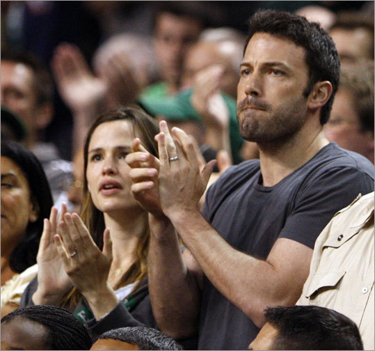 Actor Ben Affleck and wife and actress Jennifer Gardner sat in the second row at the Garden for Game 7.