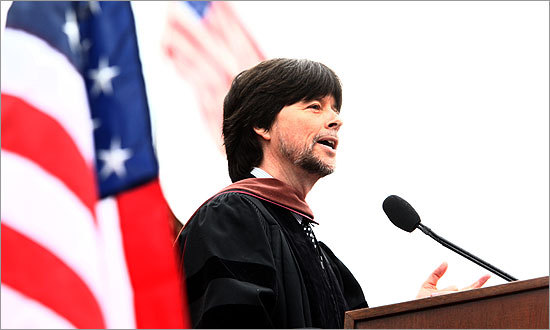 Documentary filmmaker Ken Burns delivered an address to the graduates of Boston College on Monday, May 18.