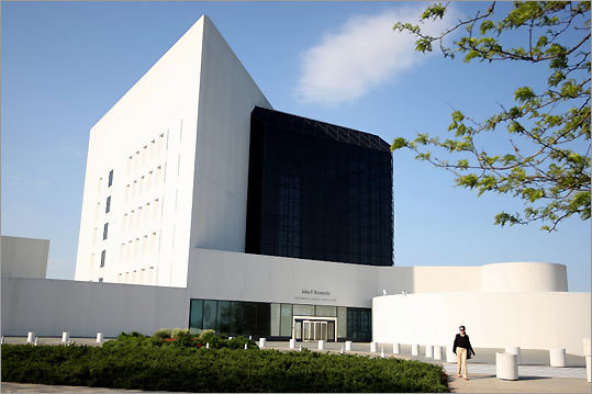 A trip to the John F. Kennedy Presidential Library & Museum on Columbia Point in the Boston neighborhood of Dorchester begins with an 18-minute introductory film, told in JFK's own words, that covers his career up to his nomination at the 1960 Democratic National Convention in Los Angeles. GPS coordinates: Lat: 42.32682 Lon: -71.05227 Closest street address: Columbia Point, Dorchester, Mass.