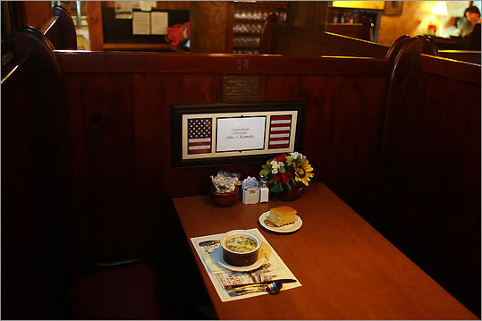 Whenever he had the chance, JFK enjoyed trekking up the stairs of the Union Oyster House and settling into booth 18 in the dimly lit dining room. A small plaque marks the booth. GPS coordinates: Lat: 42.361089 Lon: -71.05691 Closest street address: 41 Union St., Boston, Mass.