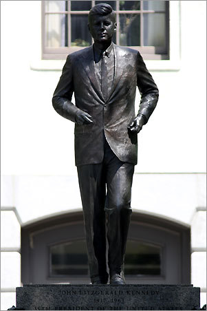 Eleven days before delivering his memorable inaugural address in January 1961, the president-elect delivered his famed 'city upon a hill' speech to the legislature inside the State House. Although he never served underneath the golden dome, a bronze statue of JFK